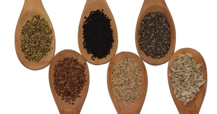 Samen auf Holzlöffel