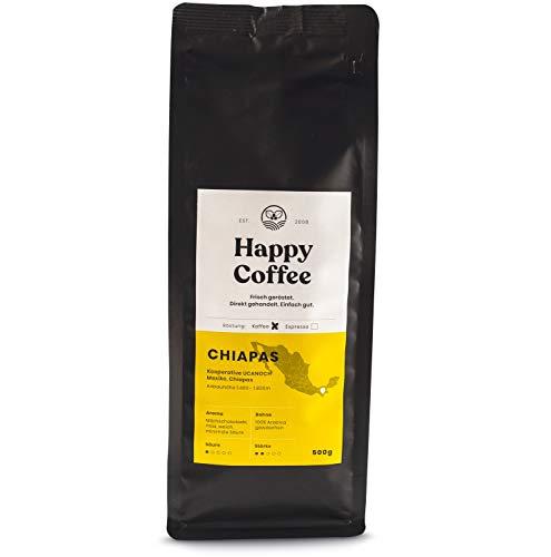 HAPPY COFFEE Bio Filterkaffee 500g [Chiapas] I Frische fair-trade Kaffeebohnen direkt aus Mexiko I Arabica Kaffee ganze Bohnen I Coffee beans für Filtermethoden