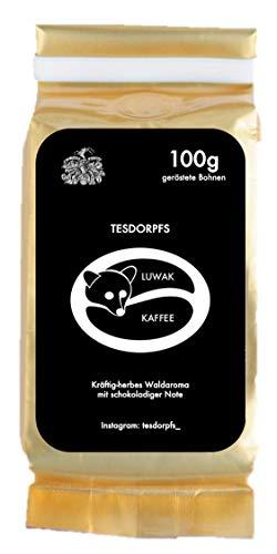 Tesdorpfs 100% Kopi Luwak Kaffee - City Roast 100g (Bohnen): eine Kaffeespezialität aus Indonesien von freilebenden Tieren als perfektes Geschenk für Kaffeeliebhaber