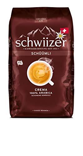 Schwiizer Schüümli Crema Ganze Kaffeebohnen (Stärkegrad 3/5, Premium Arabica), 1kg