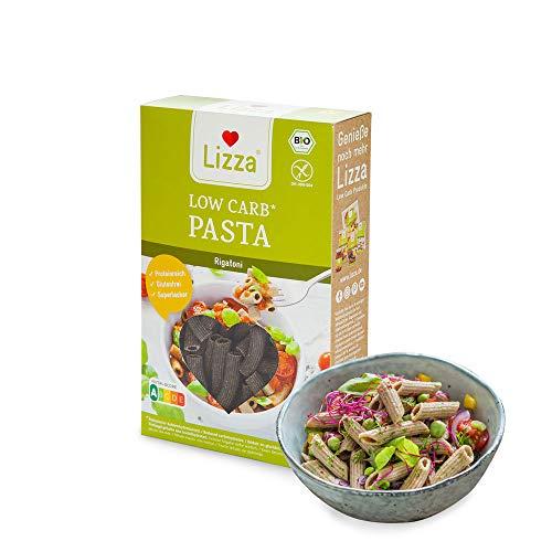 Lizza Low Carb Pasta Rigatoni | 85% weniger Kohlenhydrate | 100% Bio, Glutenfrei & Vegan | Keto & Diabetiker geeignet | Protein- & Ballaststoffreich | 2x 250g Packung (6 Portionen, Vorrat für 1 Woche)