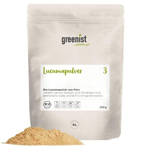 greenist Bio Lucuma Pulver, 250 g, Fruchtsüße, niedriger glykämischer Index, Peru