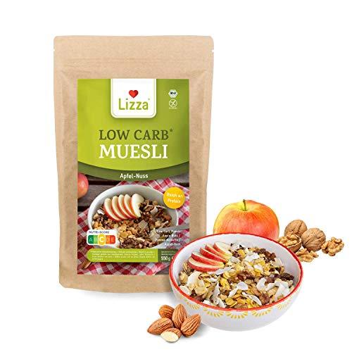 Lizza Low Carb Muesli Apfel-Nuss | Ohne Zuckerzusatz | Bis 81% weniger Kohlenhydrate | Bio, Glutenfrei Vegan | Protein & Ballaststoffreich | Perfektes Frühstück| Laktosefrei | 1 x 550 g | 11 Portionen