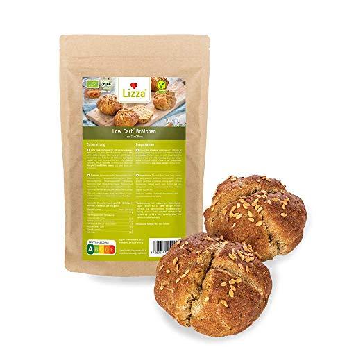 Lizza Low Carb Brötchen Backmischung 1kg | 87% weniger Kohlenhydrate | 100% Bio, Glutenfrei & Vegan | Keto & Diabetiker geeignet | Protein- & Ballaststoffreich | 1 kg Packung (Brot für 2 Wochen)
