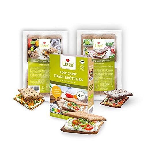 Lizza Low Carb Toast Brötchen Probierset | Bis zu 94% weniger Kohlenhydrate | Bio. Glutenfrei. Vegan. Keto | Protein- & Ballaststoffreich | 3 Geschmacksrichtungen | 12 Toast Brötchen
