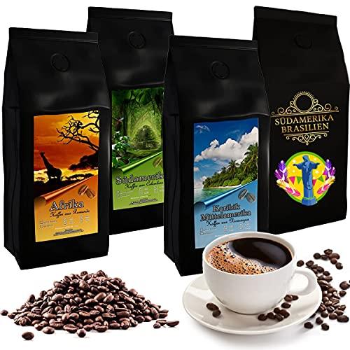 4 Kilogramm aromatische Spitzen-Länderkaffees aus aller Welt (Ganze Bohnen) | Premium-Kaffees aus Ruanda, Nicaragua, Kolumbien und Brasilien im Sparpaket