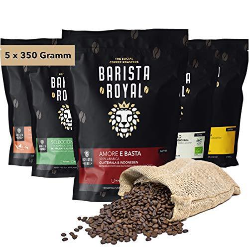 BARISTA ROYAL Kaffee Probierset ganze Bohne 5 x 350g   Kaffeebohnen Entdeckerpaket im Geschenkset   Arabica   fair   Ideal für Vollautomat, Filtermaschine, Handfilter und French Press