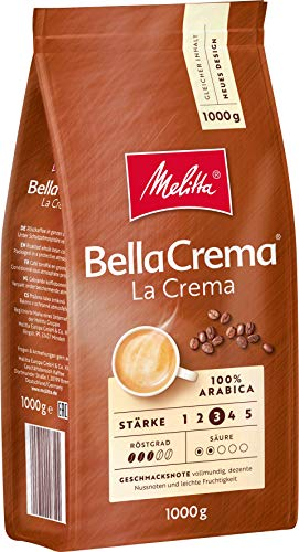 Melitta BellaCrema LaCrema, Ganze Kaffeebohnen, Stärke 3, 1kg