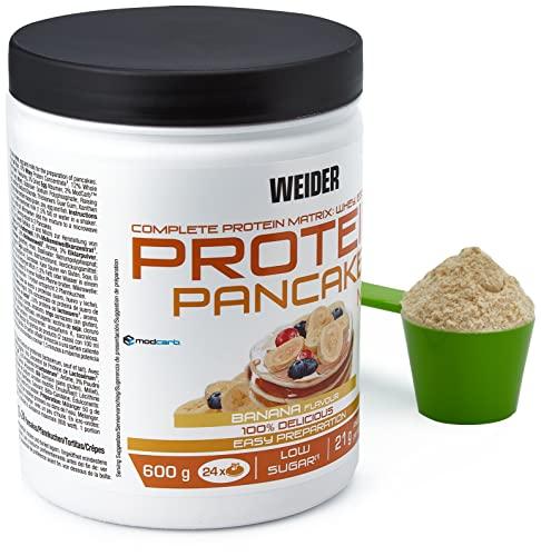 Weider Protein Pancake. Banane-Geschmack. Backmischung mit Proteinen für Pfannkuchen. 3 Proteinquellen: Molke, Ei & Vollmichprotein. Wenig Zucker. Wenig Kohlenhydraten. 24x Portionen. 600g.