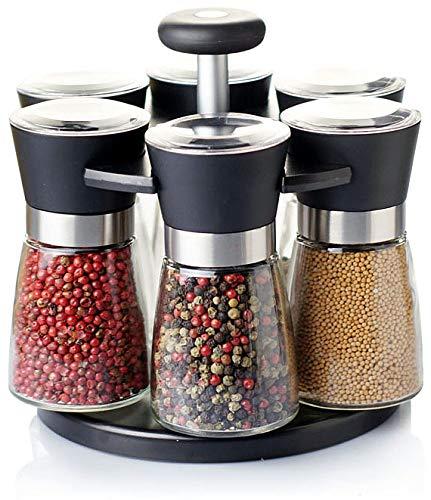 Pfeffermühle Salzmühle 6er Set mit drehbarem Ständer - Echtglas - Keramikmahlwerk - Gastro Set - ohne Gewürzinhalt - 170ml schwarz mit Edelstahl