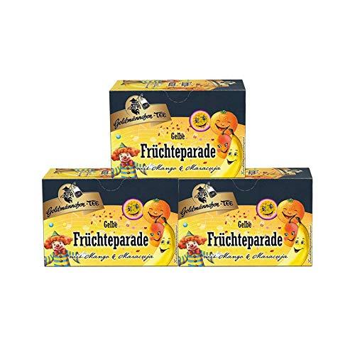 Goldmännchen Tee gelbe Kinder Früchteparade, 20 einzeln versiegelte Teebeutel, 3er Pack (3 x 50 g)